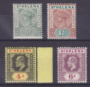 St. Helena Sc 40/72 MLH. 1897-1922 issues, 4 diff F-VF