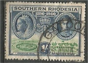 SOUTHERN RHODESIA, 1940, used  1sh Victoria Scott 63