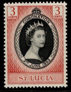 ST. LUCIA QEII SG171, 3c 1953 CORONATION, NH MINT.