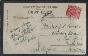 SOUTHERN NIGERIA   COVER (P2312B)  1910 KE 1D ON PPC TO ENGLAND