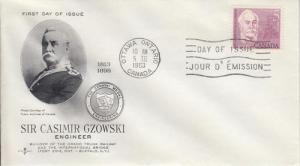 1963 Canada Casimir Gzowski (Scott 410) Rose Craft FDC