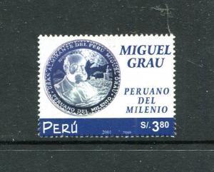 Peru 1346, MNH, Admiral Miguel Grau 2002. x29728