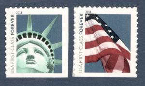 4561-2 Liberty & Flag Set Of 2 Microprinted (4evr) Mint/nh (A-247)