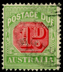 AUSTRALIA SG D106, 1d carmine & yellow-green, FINE USED.