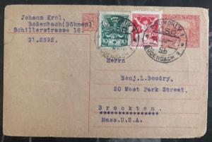 1920 Bodenbach Czechoslovakia Postal Statione Postcard Cover To Brockton MA USA