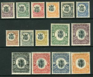 TANGANYIKA-1922-24 Giraffes.  A lightly mounted mint set to £1 Sg 74-88