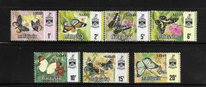 SABAH, 24-30, MNH,BUTTERFLY TYPE OF JOHORE 1965 WITH STATE CREST