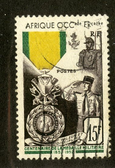FRENCH WEST AFRICA 57 USED SCV $6.50 BIN $2.75 MILITARY