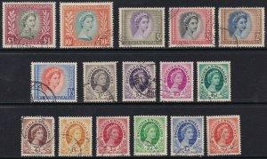 Sc# 141 / 155 Rhodesia & Nyasaland 1954-56 QE Queen Elizabeth used set CV $77.35