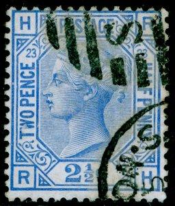 SG157, 2½d blue plate 23, USED. Cat £35. RH