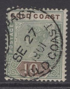 GOLD COAST SG34 1900 10/- GREEN & BROWN FINE USED