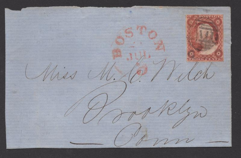 *US 19th Century Cover Scott #10, Cover Front Only, Corner Clpd, Blk Paid