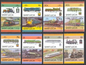 St. Lucia Sc# 807-814 MNH se-tenant pairs 1986 Locomotives