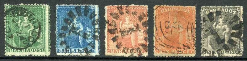 BARBADOS SG21/35 1861 Rough Perf 14 to 16 Set of 5 Large Wmk Star Cat 299 (E2)