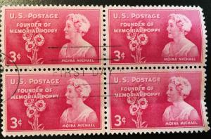 977 Moina Michael, Poppy Lady, First Day of Issue block, Vic's Stamp Stash