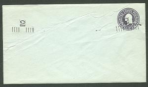 US #U461d 2¢ on 3¢ dark violet on blue unused entire