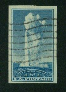 US 1935 5c blue Yellowstone Imperf, Scott 760 used, Value = $1.40