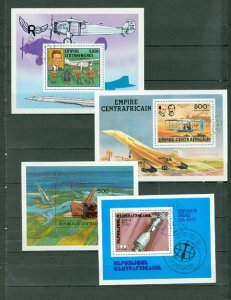CENTRAL AFRICAN REP. MOSTLY AIR LOT of 8 SOUV. SHEETS...USED