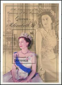 2003	Dominica	3415/B474	50 years of the coronation of Elizabeth II Golden Jubile