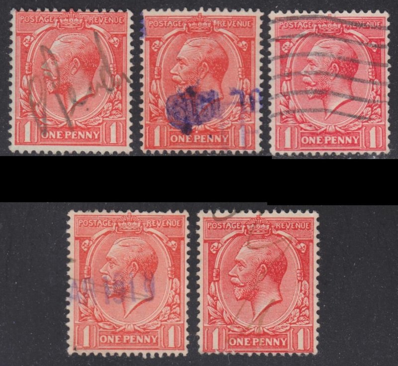Great Britain Scott 160 wtmk 33 five different shades F to VF used. Lot A.