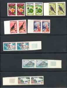 New Caledonia Collection MNH CV$300.00 1966-67 Commem Imperf Issues In Pairs