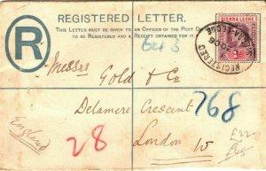 SIERRA LEONE KEVII Cover Registered 2d GB London 1906 {samwells-covers} PB296