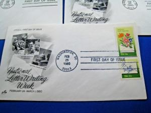 U.S. FIRST DAY COVER SETS - LOT of 9 - 1980-NATIONAL LETTER WRITING    (FDC-16x)