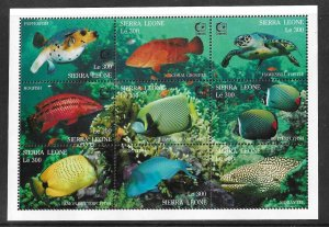 Sierra Leone MNH S/S 1799 Colorful Fish Marine Life 9 Stamps