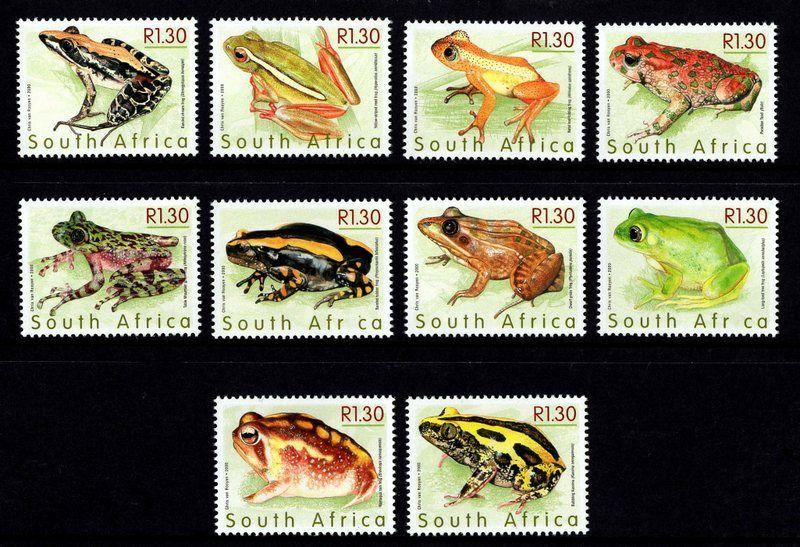 SOUTH AFRICA - 2000 - FROGS - TOAD - AMPHIBIAN - 10 X MINT - MNH SET!