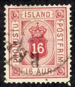 Iceland Sc# O7 Used 1876-1895 16a Official