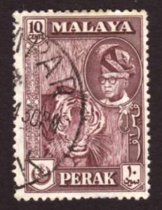 Malaya Perak 1957 Sc#132, SG#155 10c Sultan & Tiger