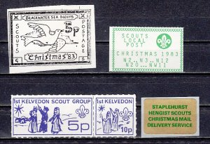 Great Britain, Christmas Post labels.