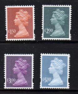 Great Britain Sc MH321-4 2003 Hi Value QE II  Machin Head stamps mint NH