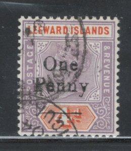 Leeward Islands 1902 Surcharge 1p Scott # 17 Used