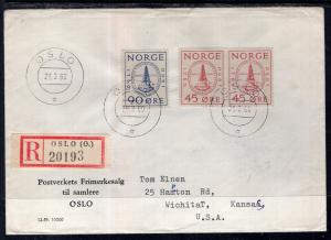 Norway to Wichita,Kansas 1960 Registered Cover