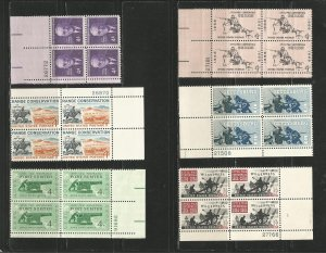 USA Stamps #1172,1176,1178,1179,1180,1181 Plate Blocks of 4