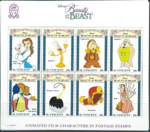 ST.Vincent #1774J Beauty and the  Beast SS (MNH) CV$8.50