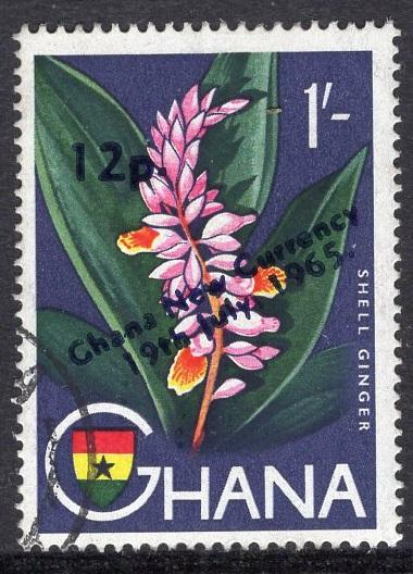 Ghana   #222  1965 new currency   used  12p. on 1s. shell ginger