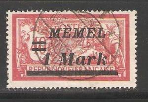 Memel 1922, 1 Mark , # 69 ,Used (A-6)