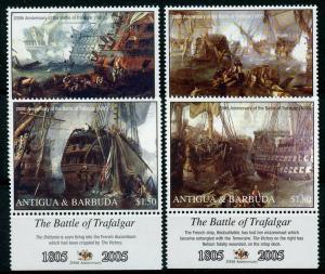 Antigua & Barbuda 2005 MNH Battle of Trafalgar HMS Victory 4v Set Ships Stamps