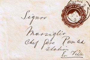 Egypt 1m Sphinx and Pyramid Envelope c1894 Alexandrie Printed matter Local use.