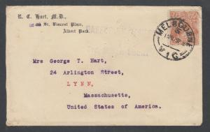 Australia Sc 36 on 1918 Censored cover to US, 3rd Military District handstamp