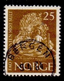 Norway 1963 used fredom from hunger 25 ore  #