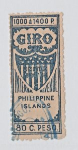 Philippines USA fiscal revenue stamp - 12-30-  NICE 80c