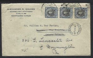 CHILE  (P3108B) 1927   10C STRIP OF 3 SANTIAGO TO BAHAMAS FWD TO USA