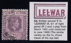 Leeward Islands, SG 109ab, used (shortish perf) Broken E variety