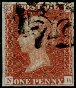 SG9, 1d pale red-brown PLATE 13, FINE USED. Cat £170. 4 MARGINS. NB