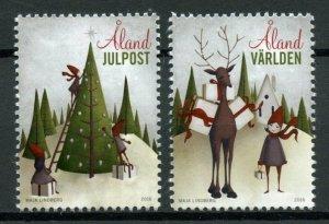 Aland Christmas Stamps 2016 MNH Christmas Tree Trees Reindeer 2v Set