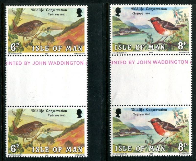 Isle of Man 182-183 gutter,MNH.Michel 178-179.Christmas 1980.Wildlife x11113