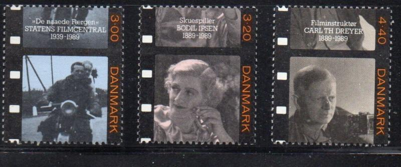 Denmark Sc 877-9 1989 Movies stamp set mint NH